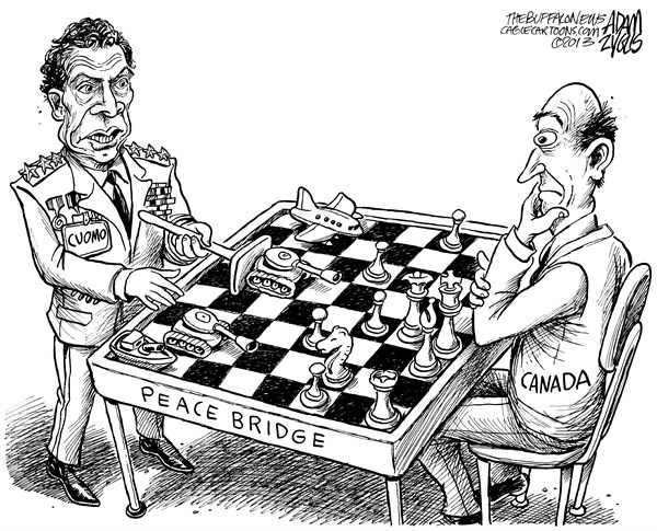 Adam Zyglis - The Buffalo News - NY State Cuomo Diplomacy - English - cuomo, governor, new york, ny, state, government, canada, diplomacy, peace bridge, war, authority