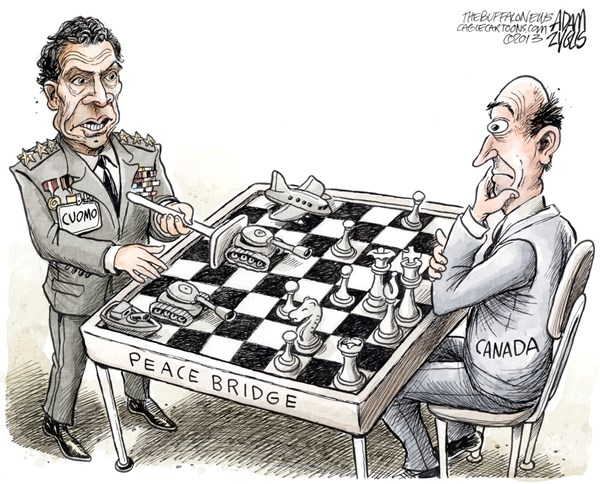 Adam Zyglis - The Buffalo News - NY State Cuomo Diplomacy COLOR - English - cuomo, governor, new york, ny, state, government, canada, diplomacy, peace bridge, war, authority
