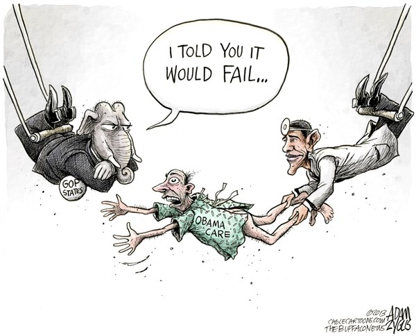 Adam Zyglis - The Buffalo News - Obamacare COLOR - English - obama, obamacare, health care, reform, law, president, white house, states, gop, republican, party, governors, government, politics