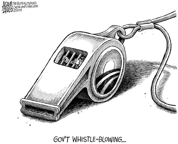 Adam Zyglis - The Buffalo News - Whistle-blowing - English - bradley manning, conviction, edward snowden, government, whistle-blowing, whistleblower, obama, white house, leaks, law, wikileaks, nsa, secret, documents, classified