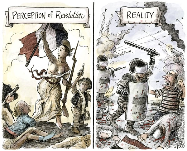 Revolution © Adam Zyglis,The Buffalo News,revolution,french,egypt,egyptian,perception,reality,bloody,democracy,middle east,military,crackdown,conflict,unrest,civil war,muslim brotherhood,arab,state,Best Political Cartoons, egypt failing