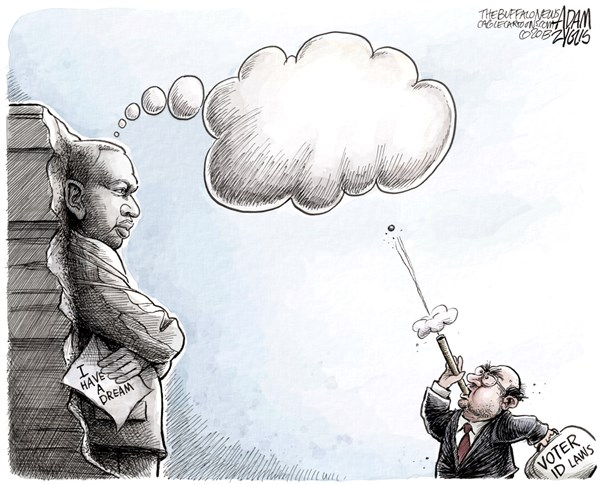 Dreamer © Adam Zyglis,The Buffalo News,martin luther king,king,speech,i have a dream,dreamer,voter id laws,north carolina,texas,discrimination,polls,civil rights,voting rights act,march on washington,MLK, mlk speech 50