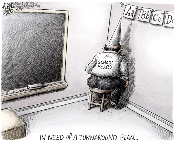 LOCAL School Board © Adam Zyglis,The Buffalo News,school board, education, state, turnaround plan, failing, schools, students, district, administration, leadership