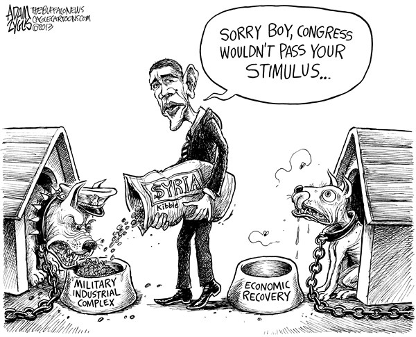Adam Zyglis - The Buffalo News - Military Stimulus - English - obama, president, syria, military, strike, action, attack, stimulus, economy, spending, war, costs, taxpayer, jobs, investment, congress, washington