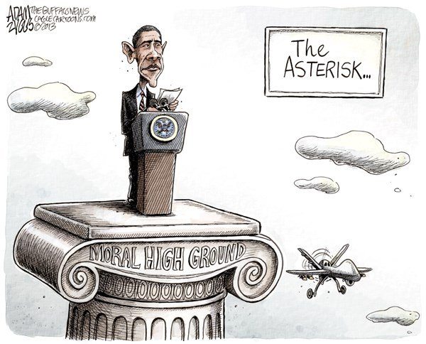 Adam Zyglis - The Buffalo News - Moral High Ground COLOR - English - obama, syria, president, strike, war, moral, high ground, world, police, un, drones, yemen, iran, middle east