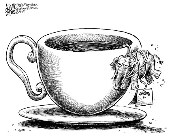 Adam Zyglis - The Buffalo News - Tea Party - English - gop, tea party, congress, republicans, house, divide, split, polls, government, shutdown, obamacare