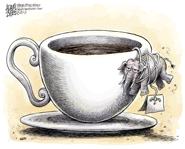 Adam Zyglis - The Buffalo News - Tea Party COLOR - English - gop, tea party, congress, republicans, house, divide, split, polls, government, shutdown, obamacare