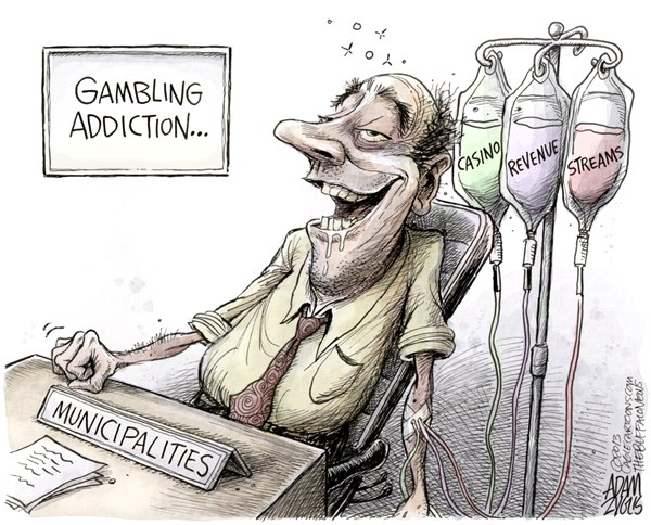 Adam Zyglis - The Buffalo News - Casino Gambling Tax Revenue Addiction COLOR - English - casinos,gambling,municipalities,state,taxes,revenue,schools,addiction,crime,communities,poor