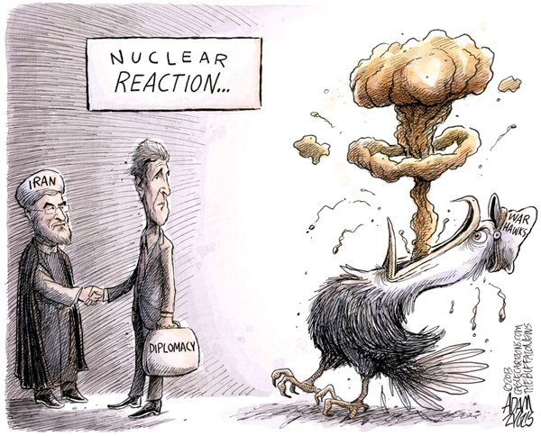 Adam Zyglis - The Buffalo News - Iran Diplomacy - English - iran, john, kerry, nuclear, reaction, war, hawks, us, military, gop, critics, obama, diplomacy, middle east, mideast, foreign policy, israel