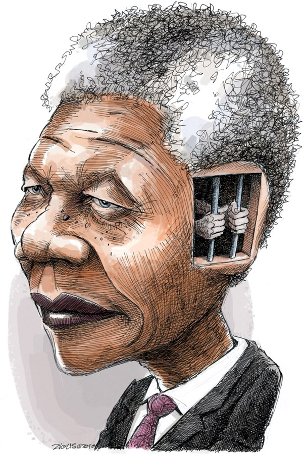 Adam Zyglis - The Buffalo News - Nelson Mandela COLOR - English - nelson mandela, south africa, apartheid, civil rights, equality, obituary
