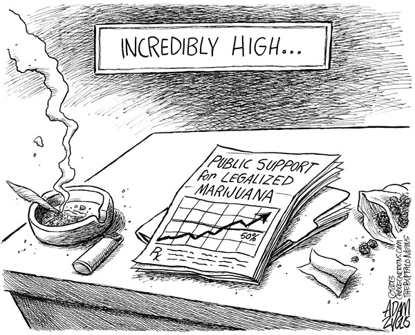 Adam Zyglis - The Buffalo News - Legalized Marijuana - English - marijuana, legalized, legal, medical, polls, public opinion, approval, society, new york, law, drugs, war on drugs, recreational, prescription, high