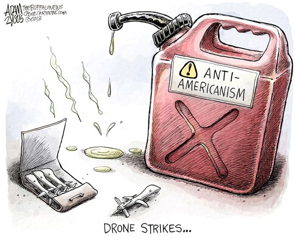Adam Zyglis - The Buffalo News - Drone Strikes COLOR - English - drones, drone strikes, civilians, middle east, yemen, afghanistan, iran, pakistan, casualties, deaths, anti-americanism, outrage, terrorism, war, military
