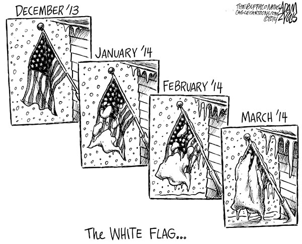 Adam Zyglis - The Buffalo News - Surrendering to Winter - English - winter, storm, snow, cold, 2013, 2014, blizzard, weather