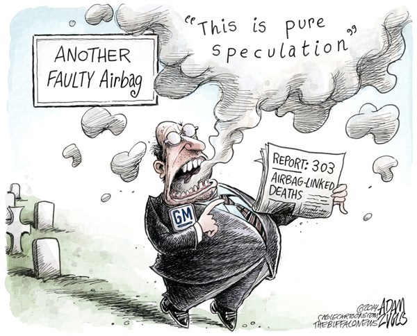 Adam Zyglis - The Buffalo News - Faulty Airbag COLOR - English - gm,general motors,recall,airbag,deaths,auto,industry,corporation,cars,safety,transportation,government,federal,regulation