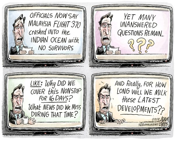 Adam Zyglis - The Buffalo News - Disaster Coverage COLOR - English - malaysia flight, 370, plane, crash, indian ocean, transportation, safety, airline, industry, cable news, media, cnn, speculation, coverage