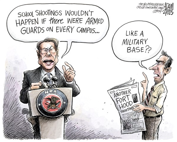 Adam Zyglis - The Buffalo News - Fort Hood COLOR - English - nra, fort hood, national rifle association, armed guards, second amendment, guns, violence, shootings, mass, murder, prevention, military, lapierre