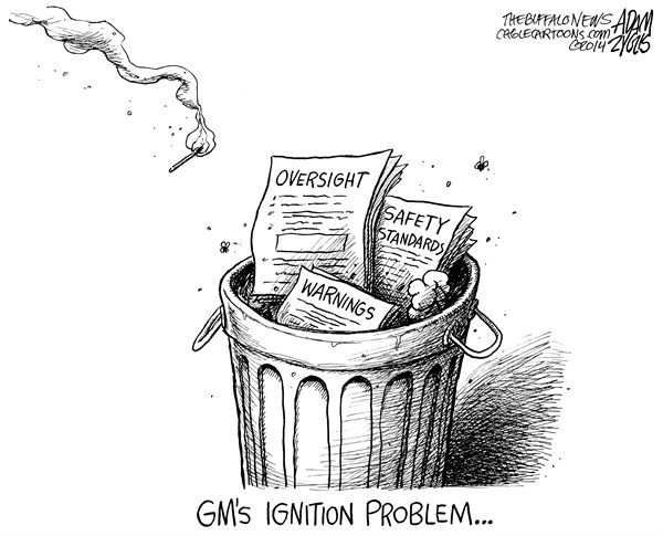 Adam Zyglis - The Buffalo News - Ignition Problem - English - gm, general motors, detroit, ignition, problem, recall, deaths, auto, industry, transportation, safety, public, government, oversight, warnings, airbags