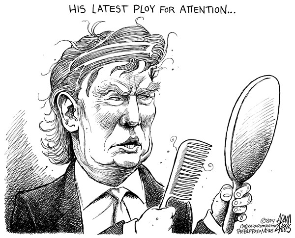 Adam Zyglis - The Buffalo News - Trump and the Buffalo Bills - English - donald, trump, hair, buffalo, bills, team, purchase, sale, rumors, buy, nfl, football, professional, sports, entertainment, franchise
