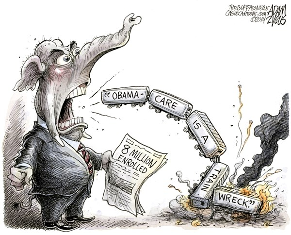 Adam Zyglis - The Buffalo News - Obamacare Train Wreck COLOR - English - obamacare, train wreck, gop, critics, republican, party, conservative, enrolled, 8, million, white house, obama, president, health care, reform, law, insurance, aca, affordable care act