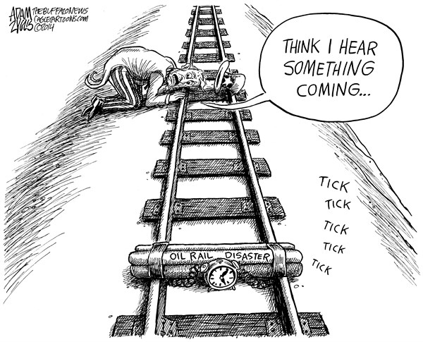 Adam Zyglis - The Buffalo News - Oil Rail Disaster - English - oil, rail, disaster, ntsb, warning, cargo, freight, train, explosive, crude, transportation, safety