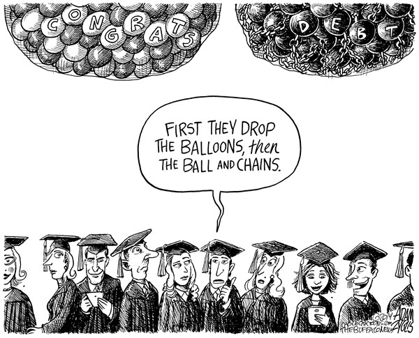 Adam Zyglis - The Buffalo News - Graduation - English - graduation, graduate, debt, school, college, university, student, loans, costs, tuition, degree, diploma