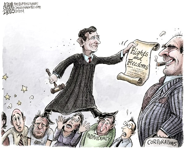 The Roberts Doctrine © Adam Zyglis,The Buffalo News,john roberts, supreme court, chief justice, corporations, people, rights, freedoms, speech, money, religion, individuals, constitution, bill of rights
