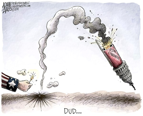 Fireworks © Adam Zyglis,The Buffalo News,july, 4th, independence day, holiday, fireworks, congress, 113th, do nothing, worst, gop, republicans, house, democrats, politics