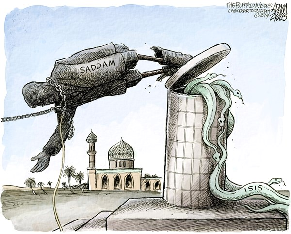 ISIS © Adam Zyglis,The Buffalo News,isis, iraq, saddam, war, terrorism, us, bush, invasion, topple, dictator, islam, violence, middle east, obama