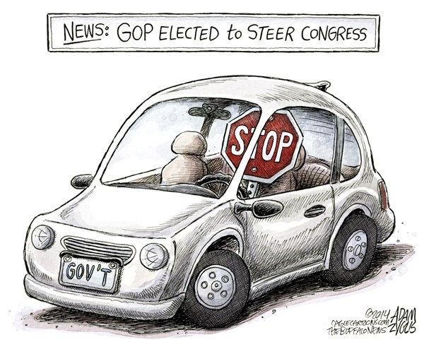 GOP Steering Congress © Adam Zyglis,The Buffalo News,gop, senate, congress, election, control, steering, driving, washington, victory, republican, party, obstructionism