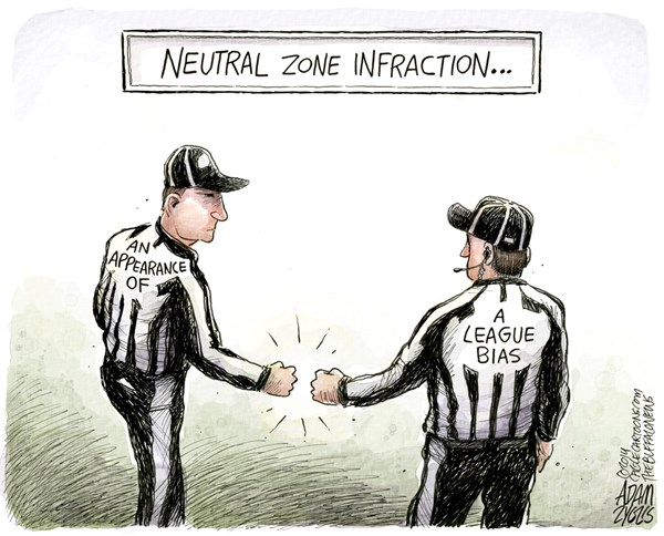 Fist Bump © Adam Zyglis,The Buffalo News,nfl, bias, referee, officiating, bills, buffalo, denver, broncos, fist bump, calls, football, sports