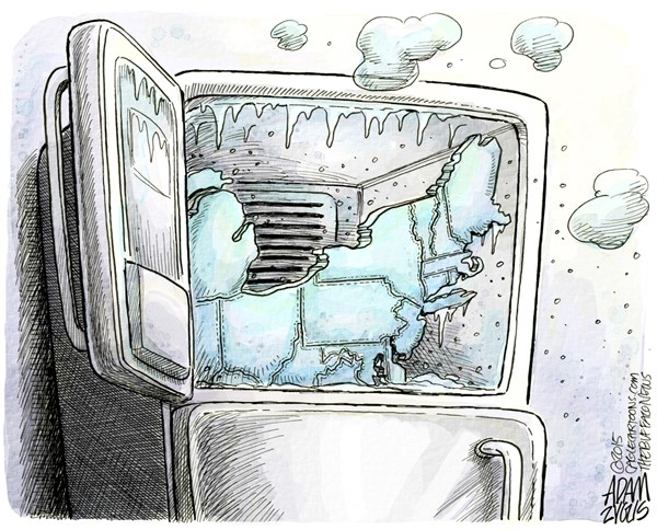 Frozen © Adam Zyglis,The Buffalo News,northeast, new england, northern, states, usa, us, america, weather, winter, cold, frozen, february, january, snow, ice, wind, storm, temperatures, fridge, freezer
