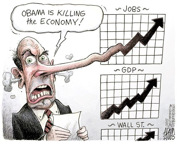 Economic Growth © Adam Zyglis,The Buffalo News,economy, growth, report, jobs, wall street, stock market, gdp, business, wages, workers, corporations, money, us, obama, obamacare, taxes, gop, president, critics, media