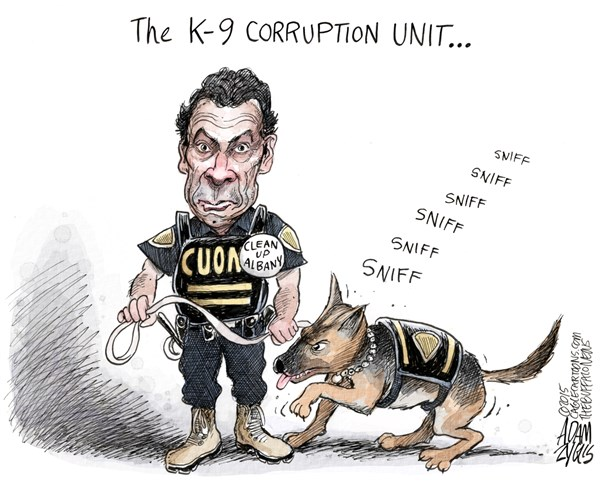 NY State Ethics Reform © Adam Zyglis,The Buffalo News,cuomo, cop, ethics, corruption, law, albany, governor, new york, state, government, sheldon, silver, scandal, moreland commission