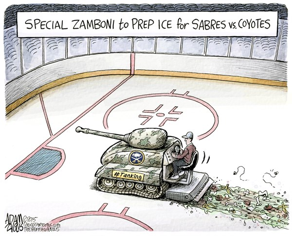 Sabres and Coyotes Tanking © Adam Zyglis,The Buffalo News,sabres, tanking, nhl, buffalo, phoenix, coyotes, hockey, losing, mceichel, mcdavid, eichel, draft, zamboni