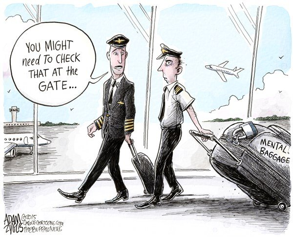 Mental Health of Pilots © Adam Zyglis,The Buffalo News,germanwings, german, wings, france, french alps, flight 9525, crash, copilot, murder, suicide, mental health, illness, baggage, depression, flight safety, pilot screening, transportation