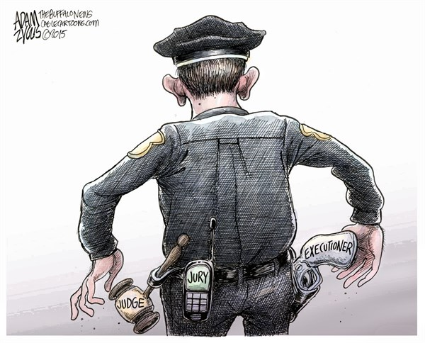 Officer Slager © Adam Zyglis,The Buffalo News,officer slager, police, brutality, murder, walter scott, south carolina, fired, race, relations, law enforcement, judge, jury, executioner