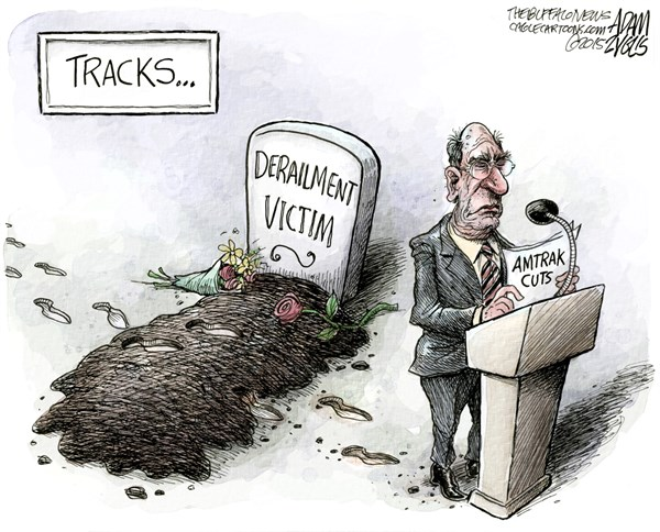 Amtrak Tragedy © Adam Zyglis,The Buffalo News,amtrak, train, accident, tragedy, cuts, infrastructure, house, congress, republicans, gop, spending, budget, victims, derailment, transportation