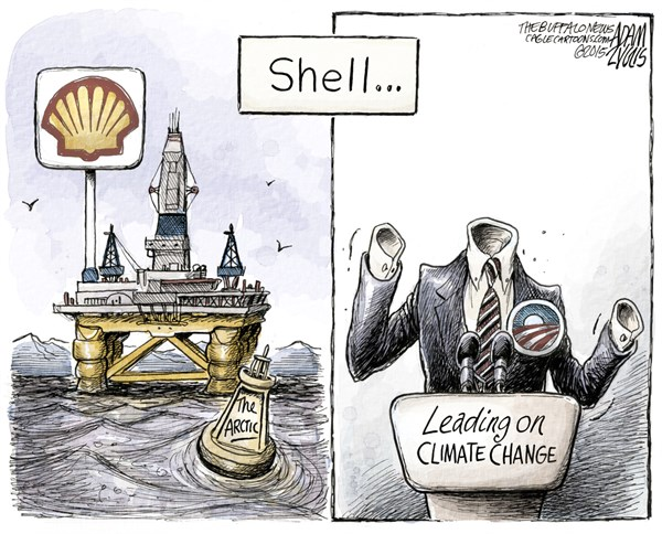 Arctic Drilling © Adam Zyglis,The Buffalo News,arctic drilling, shell, oil, energy, companies, big, business, arctic, alaska, rig, climate change, obama, permit, president, white house, america, leading, global warming, carbon, environment