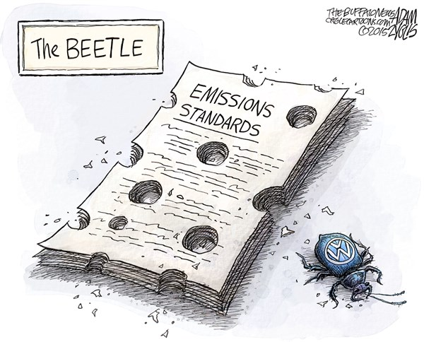 Diesel Bug © Adam Zyglis,The Buffalo News,vw,deception,volkswagen,auto,company,emissions,scandal,recall,ozone,pollution,beetle,global,ceo,resign,diesel