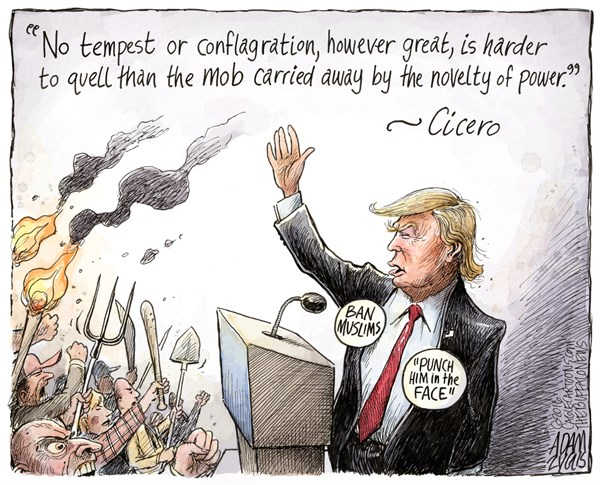 The Mob, Adam Zyglis,The Buffalo News,trump, the mob, angry, gop, conservatives, power, authoritarianism, fascism, violence, radical, republican, presidential, race, election, donald, campaign
