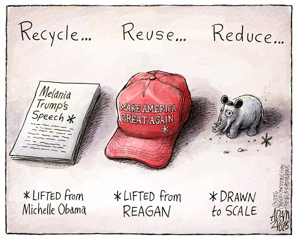 Adam Zyglis - The Buffalo News - Melanie Trump Speech COLOR - English - donald, trump, republican, party, melania, make america great again, obama, reagan, recycle, reduce, reuse, plagiarism, gop, white house, speech, election, campaign