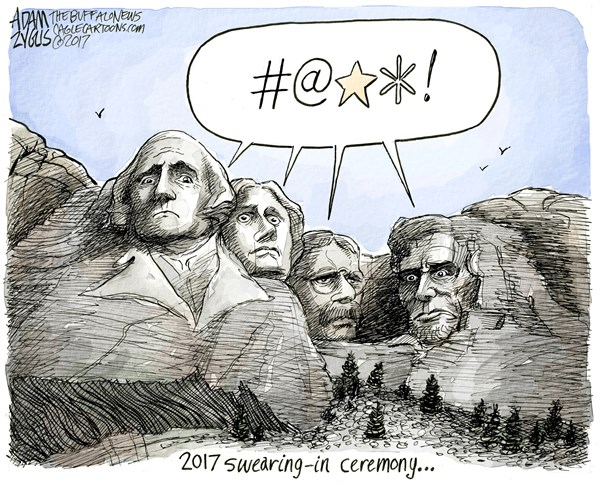 Adam Zyglis - The Buffalo News - Inauguration COLOR - English - trump, president, inauguration, swearing in, mount rushmore, donald, white house, ceremony, elected, shocked, democracy, founding fathers, lincoln, washington, roosevelt, jefferson, america