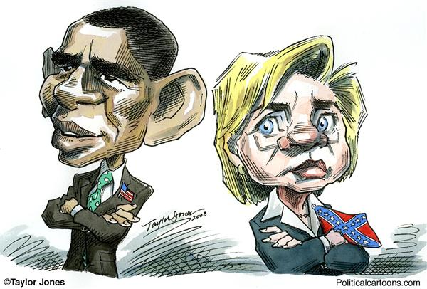 Taylor Jones - Politicalcartoons.com - Obama and Hillary / flag pins - COLOR - English - 		barack obama,hillary clinton,flag pins,patriotism,racism,democratic primaries