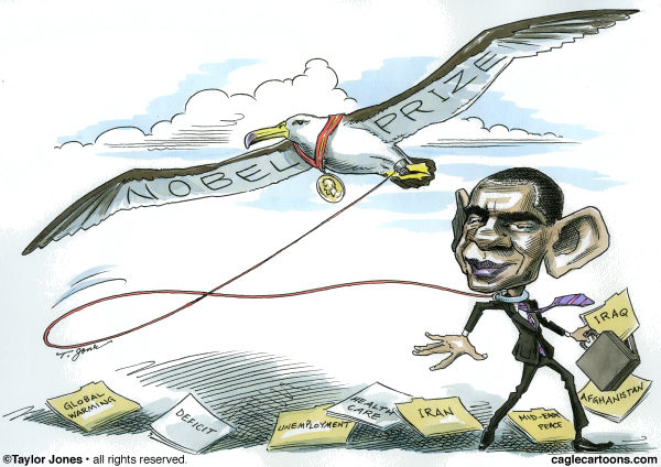Taylor Jones - Politicalcartoons.com - Obama wins Nobel Prize - COLOR - English - obama,nobel prize,nobel peace prize,barack obama,albatross
