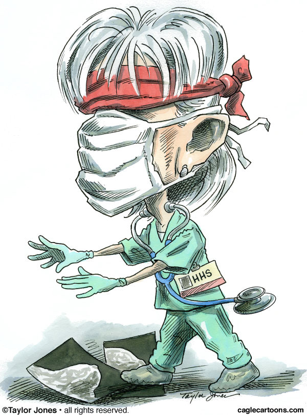 Kathleen Sebelius - COLOR © Taylor Jones,Politicalcartoons.com,sebelius,health reform,A1H1,swine flu,mammograms,kathleen,caricature