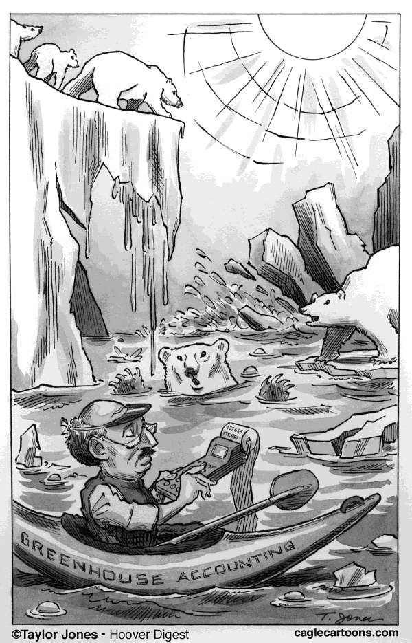 Taylor Jones - Politicalcartoons.com - Greenhouse Accounting - English - global warming,greenhouse gases,polar ice caps,polar bears,environment