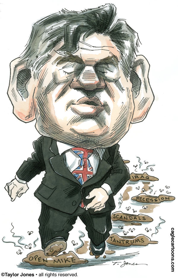 Taylor Jones - Politicalcartoons.com - Gordon Brown marches on - COLOR - English - gordon brown,great britain,british parliament,labour party,labour government,david cameron,nick clegg,british parliamentary elections,tories,liberal democrats
