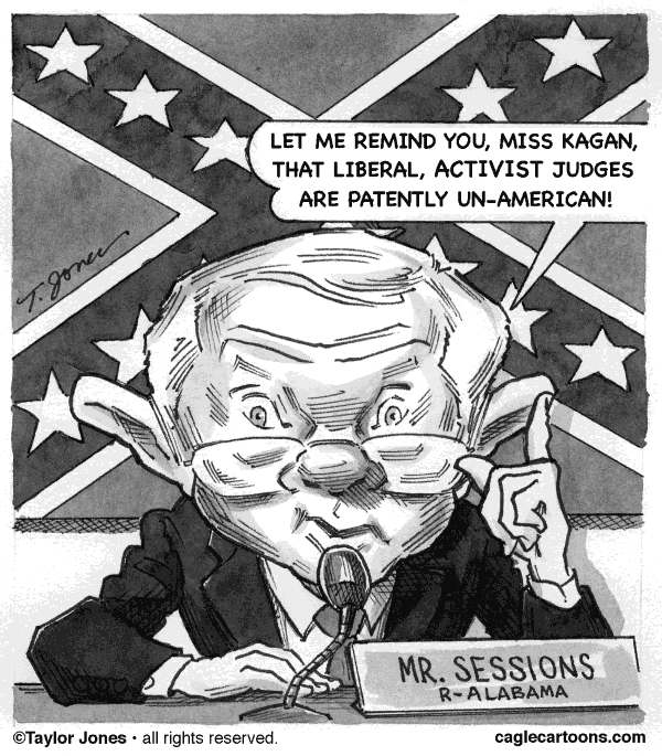 Taylor Jones - Politicalcartoons.com - Jeff Sessions v Elena Kagan - English - jeff sessions, elena kagan,supreme court,confirmation hearings,activist judges,liberals,conservatives,alabama