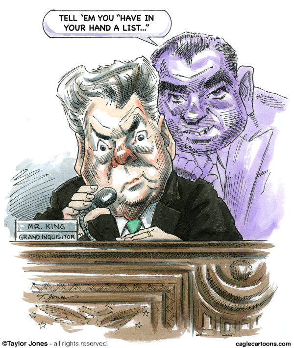 Taylor Jones - Politicalcartoons.com - Peter King - ghost of hearings past - COLOR - English - peter king,joe mccarthy,homeland security,congressional hearings,arab-americans,islam in america,islamic americans,homegrown terrorists,conservatives,army mccarthy hearings,witch-hunt