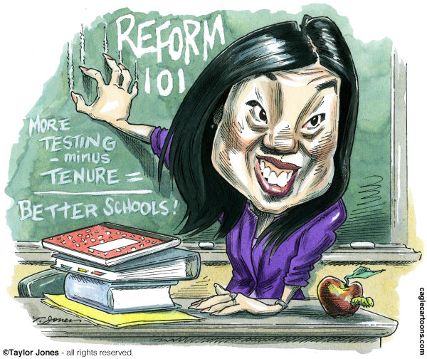 109850 600 Education reformer Michelle Rhee cartoons